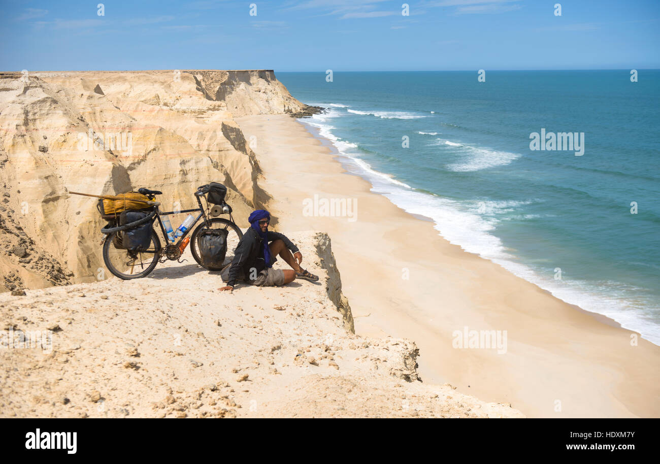 When the Sahara meets the Atlantic Ocean, Western Sahara - Stock Image