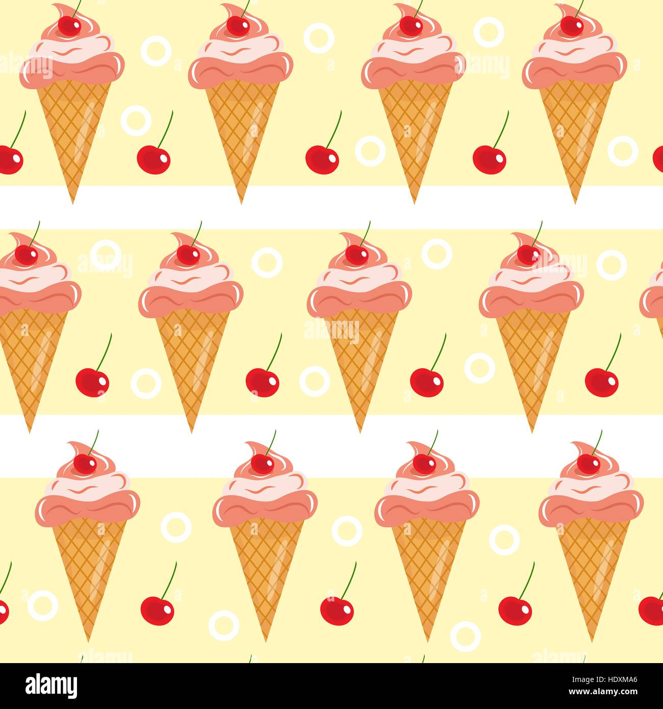 Sweet Ice Cream Flat Colorful Seamless Pattern Vector: Sugar Cone Stock Vector Images