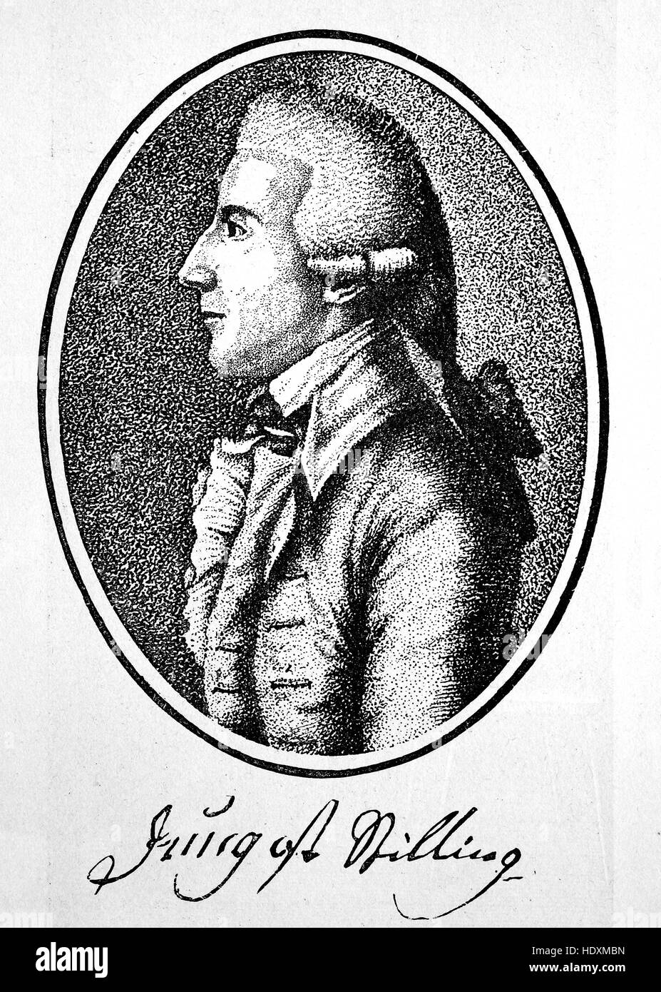 Johann Heinrich Jung or Heinrich Stilling, 1740-1817, a German author, woodcut from the year 1882, digital improved - Stock Image