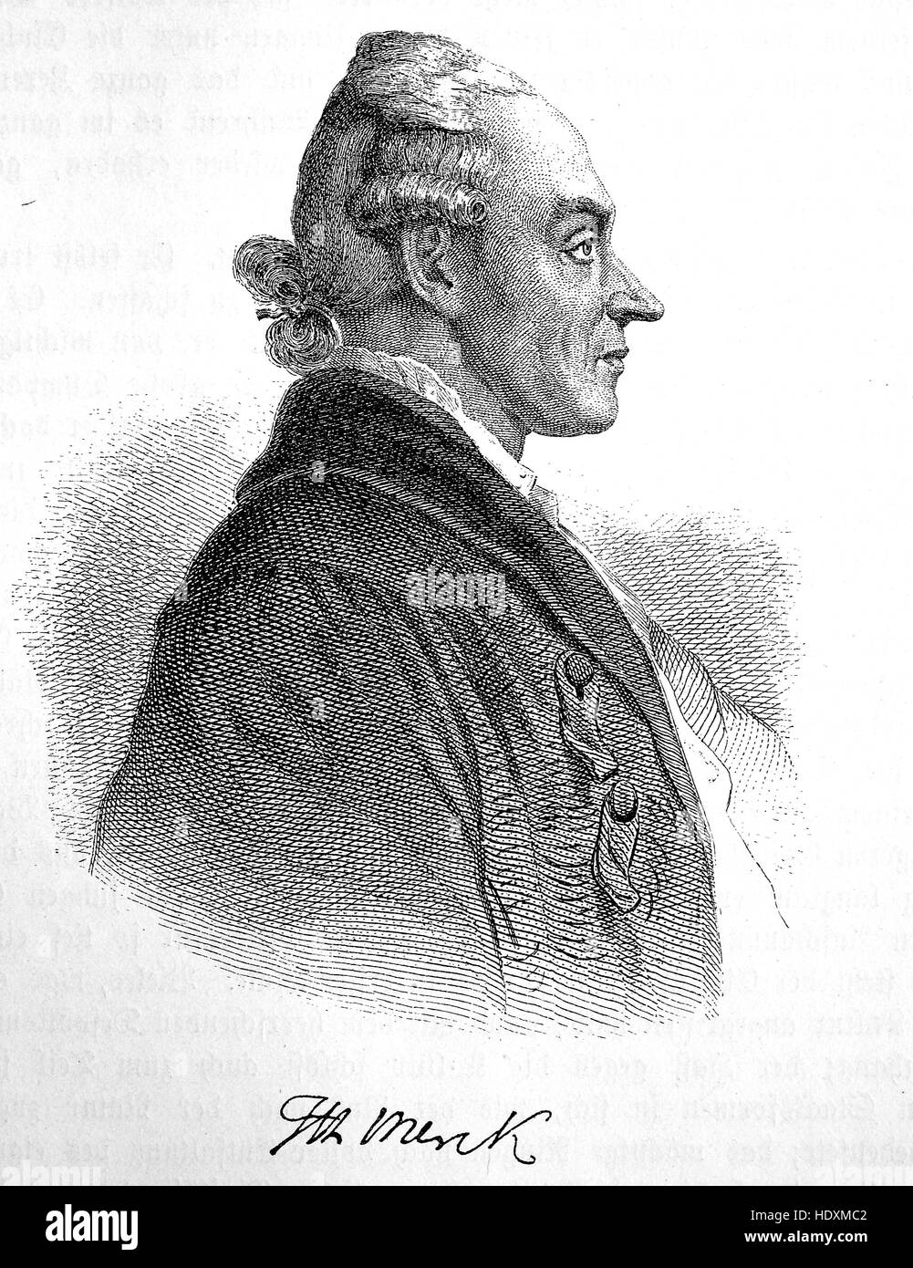 Johann Heinrich Merck, 1741-1791, German author and critic and a chemist, woodcut from the year 1882, digital improved - Stock Image