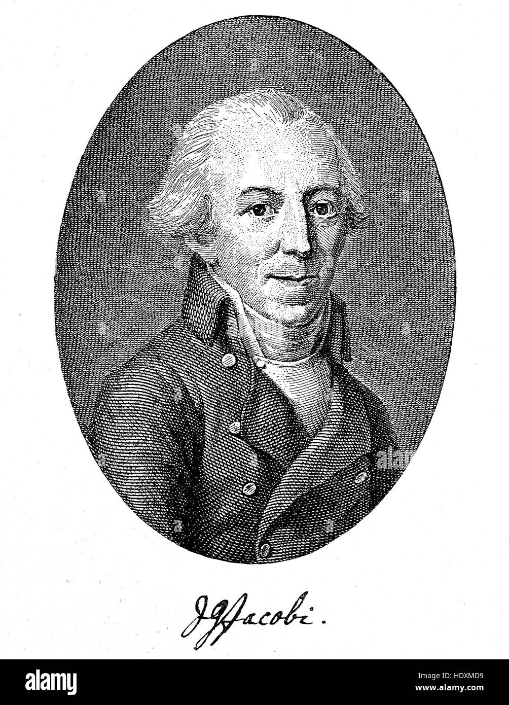 Johann Georg Jacobi, 1740-1814, a German poet and publicist, woodcut from the year 1882, digital improved - Stock Image