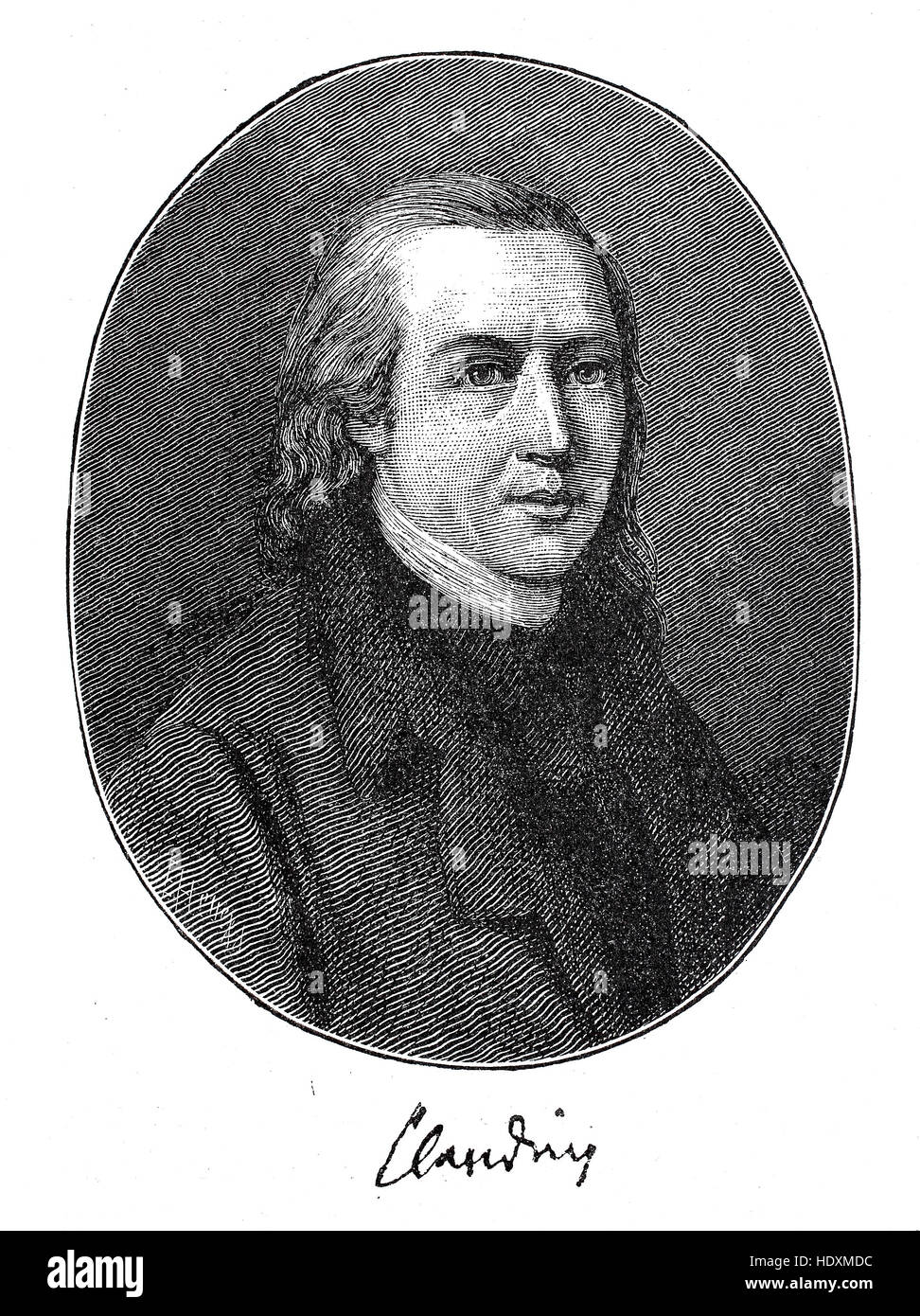 Matthias Claudius, pseudonym Asmus, 1740-1815, a German poet, journalist and lyricist, woodcut from the year 1882, - Stock Image