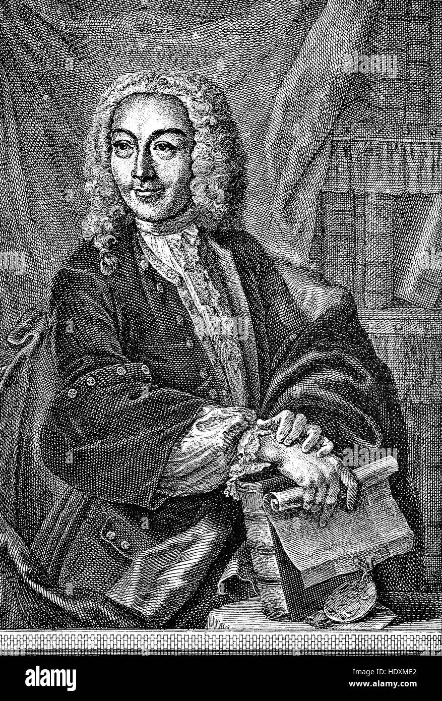 Karl Friedrich Drollinger, 1688-1742, an archivist, lyricist and translator, woodcut from the year 1882, digital - Stock Image