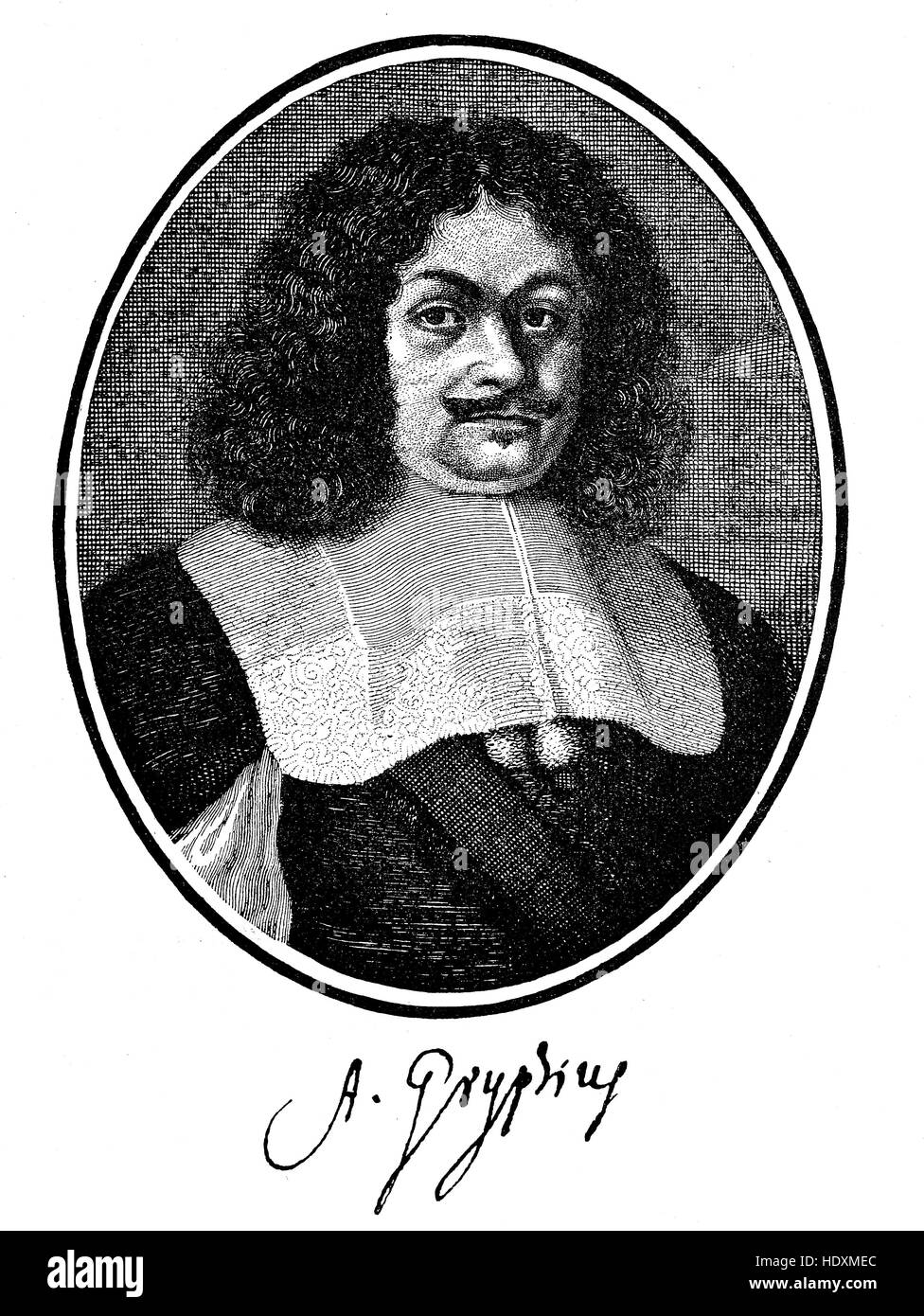 Andreas Gryphius, 1616-1664, a German lyric poet and dramatist, woodcut from the year 1882, digital improved - Stock Image