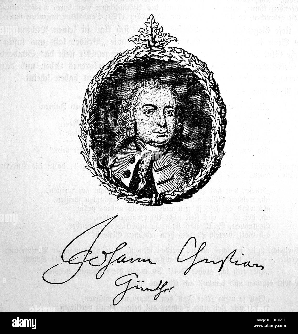 Johann Christian Guenther, 1695-1723, a German poet, woodcut from the year 1882, digital improved - Stock Image