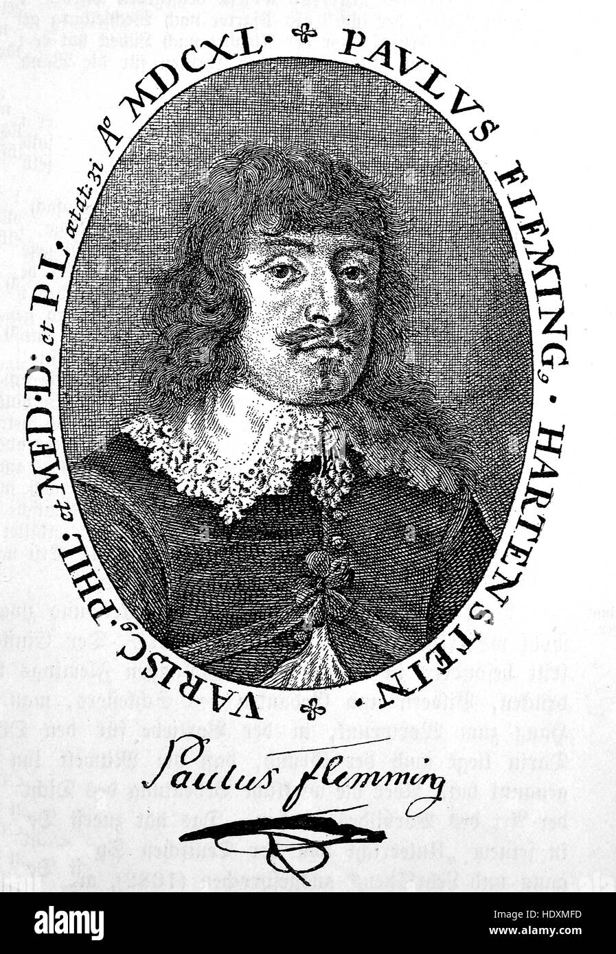 Paul Fleming, also spelt Flemming, 1609-1640, a German physician and poet, woodcut from the year 1882, digital improved - Stock Image