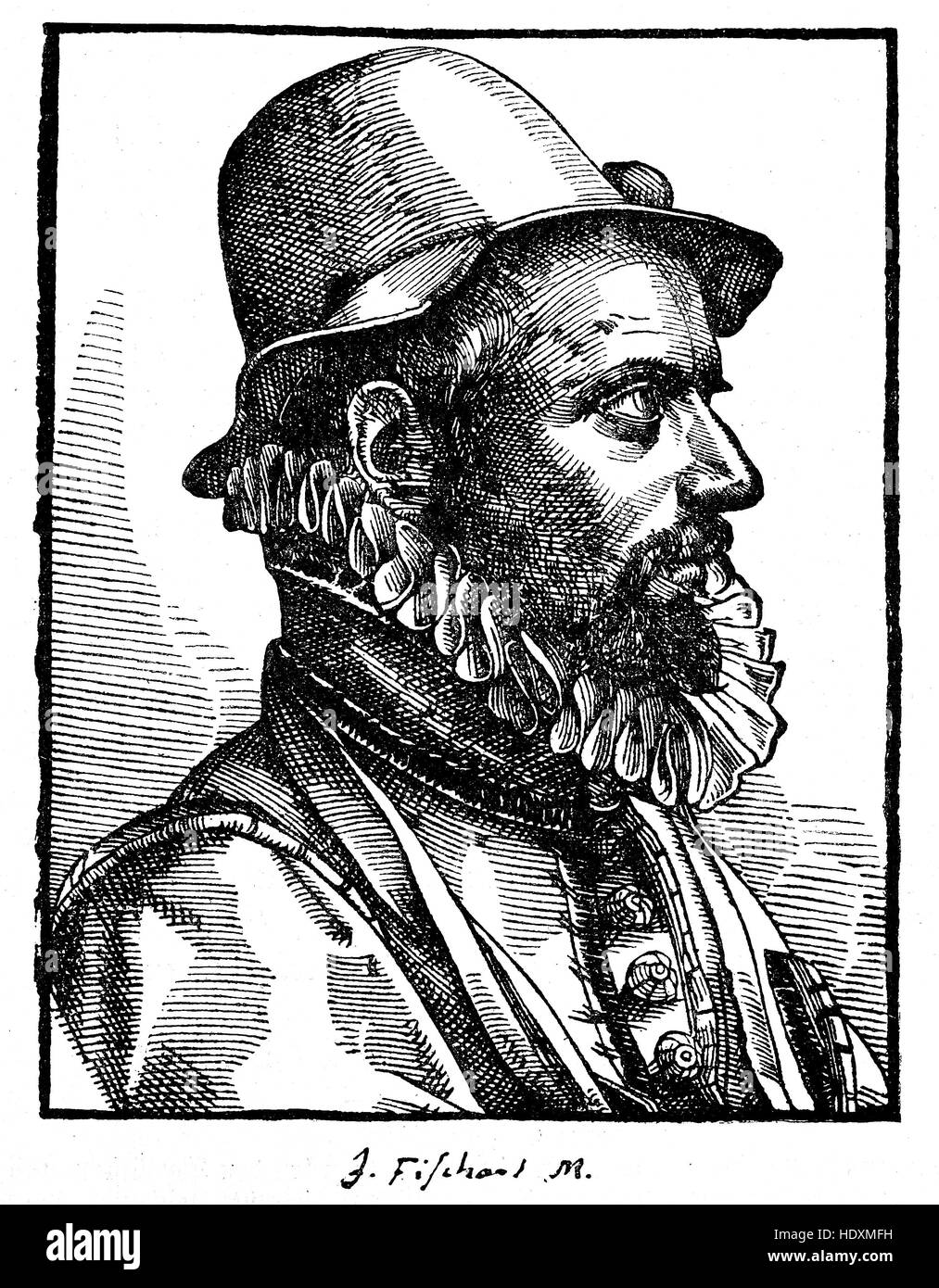 Johann Baptist Fischart, 1545-1591, a German satirist and publicist, woodcut from the year 1882, digital improved - Stock Image