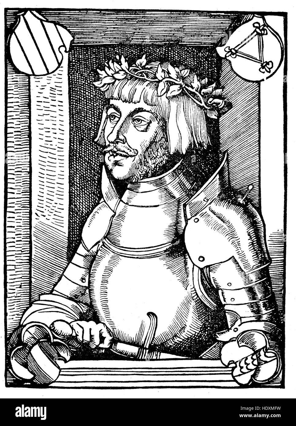 Ulrich von Hutten, 1488-1523, a German scholar, poet, satirist and reformer, woodcut from the year 1882, digital - Stock Image