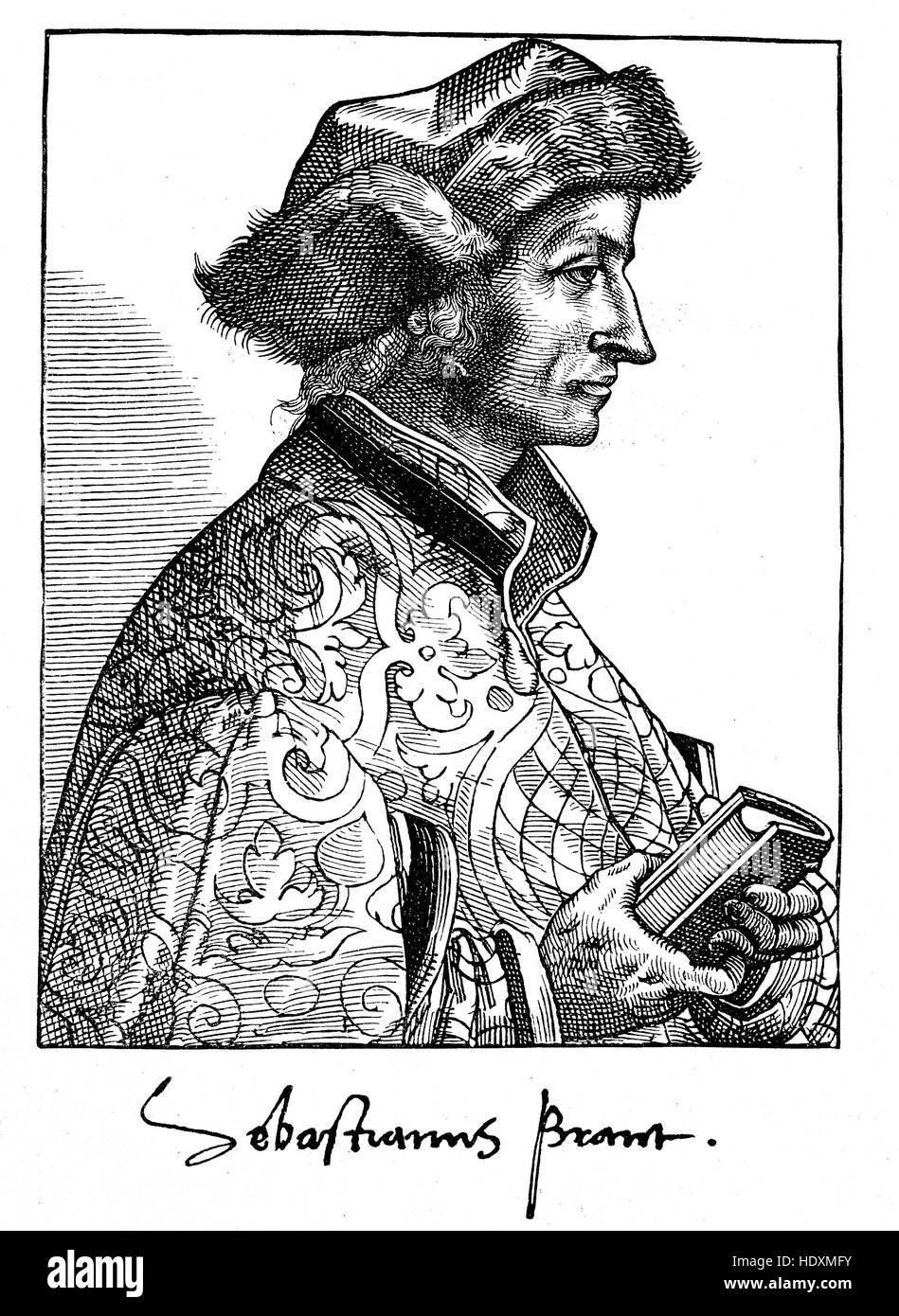 Sebastian Brant, 1457-1521, a German humanist and satirist, woodcut from the