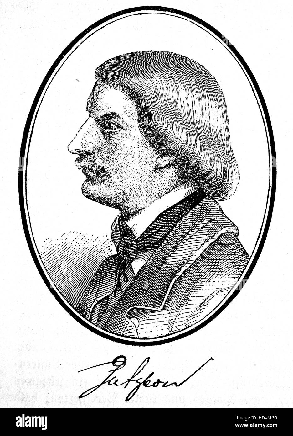 Karl Ferdinand Gutzkow, 1811-1878, a German writer, woodcut from the year 1882, digital improved - Stock Image