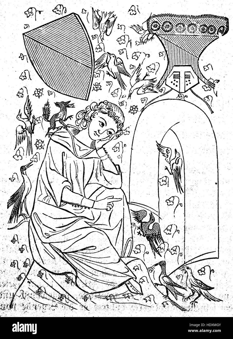 The Codex Manesse, Manesse Codex, or Grosse Heidelberger Liederhandschrift is a Liederhandschrift, book of songs/poetry - Stock Image