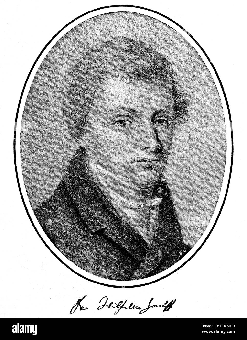 Wilhelm Hauff, 1802-1827, a German poet and novelist, woodcut from the year 1882, digital improved - Stock Image