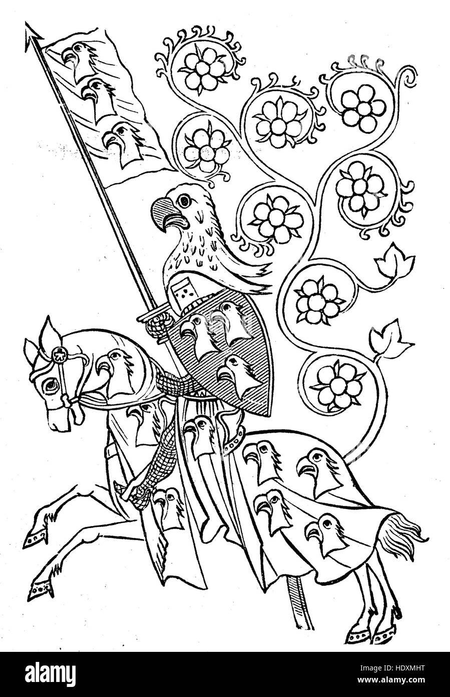 Portrait of Hartmann von Aue from the Codex Manesse, Miniatur der Maniessischen Liederhandschrift zu den Liedern - Stock Image