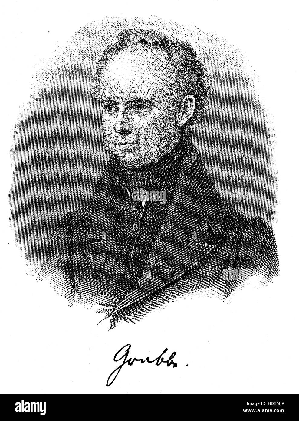 Christian Dietrich Grabbe, 1801-1836, a German dramatist of the Vormaerz era, woodcut from the year 1882, digital - Stock Image