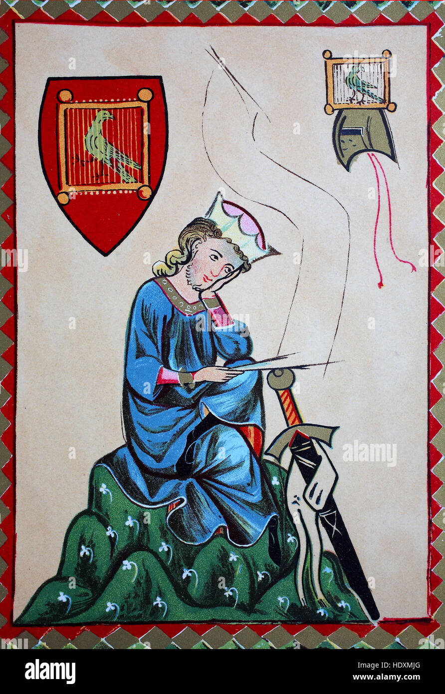 The Middle High German lyric poet, Walther von der Vogelweide, Portrait of him, from the Codex Manesse, Walther - Stock Image
