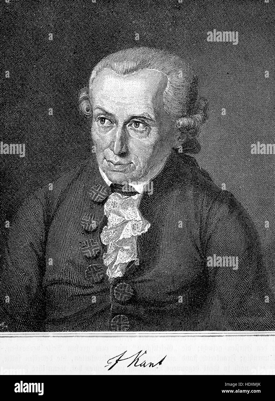 Immanuel Kant, 1724-1804,s a German philosopher who is considered the central figure of modern philosophy, woodcut - Stock Image