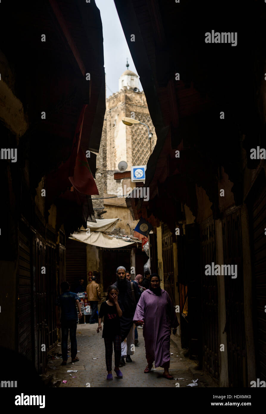 Streets and alleys of the Medina, Fes, Morocco Stock Photo