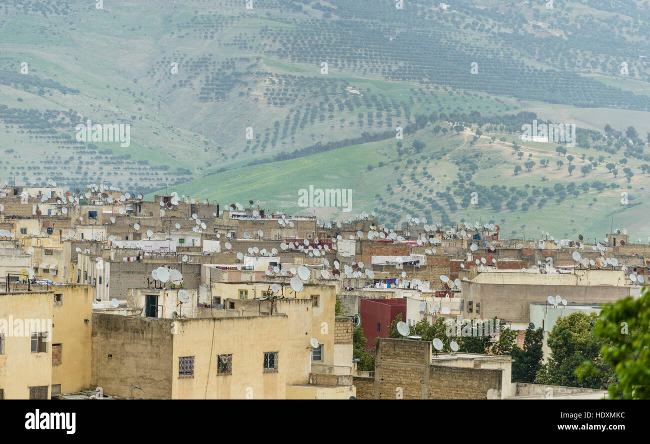 Satellite dish madness, Outskirts of Fes, Morocco - Stock Image