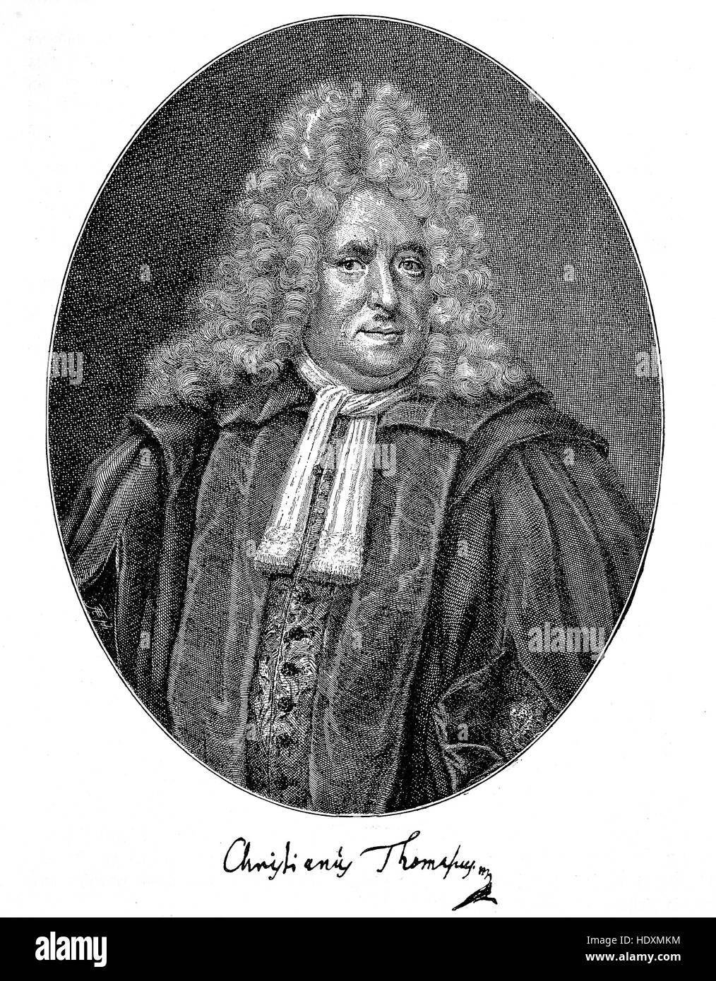 Christian Thomasius, 1655-1728, a German jurist and philosopher, woodcut from the year 1882, digital improved - Stock Image