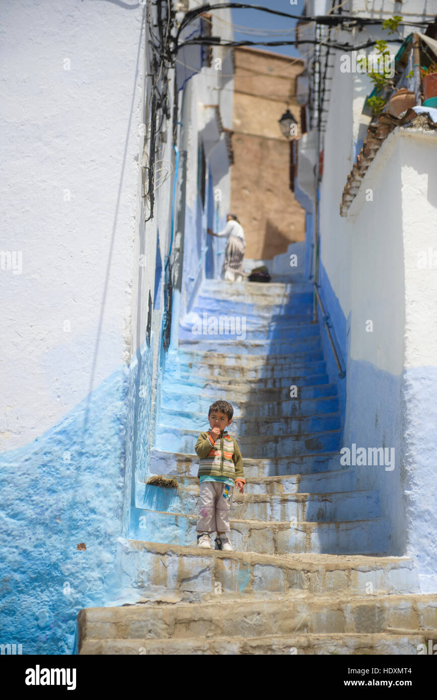 Streets and alleys of the Medina of Chefchaouen, Morocco Stock Photo