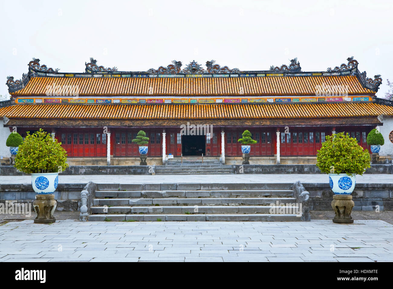 One of the few restored buildings at the Imperial City in Hue, Vietnam. Stock Photo