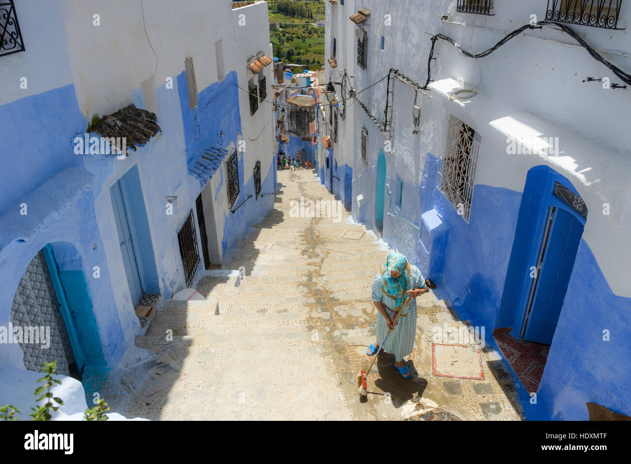 Streets and alleys of the Medina of Chefchaouen, Morocco - Stock Image