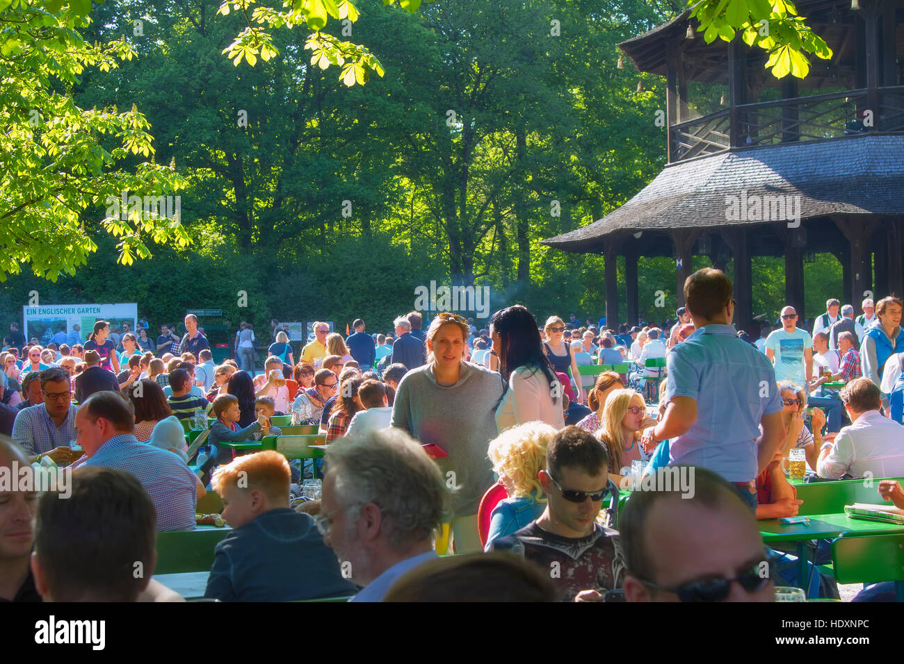 Beer garden at Englischer Garten, Munich - Stock Image