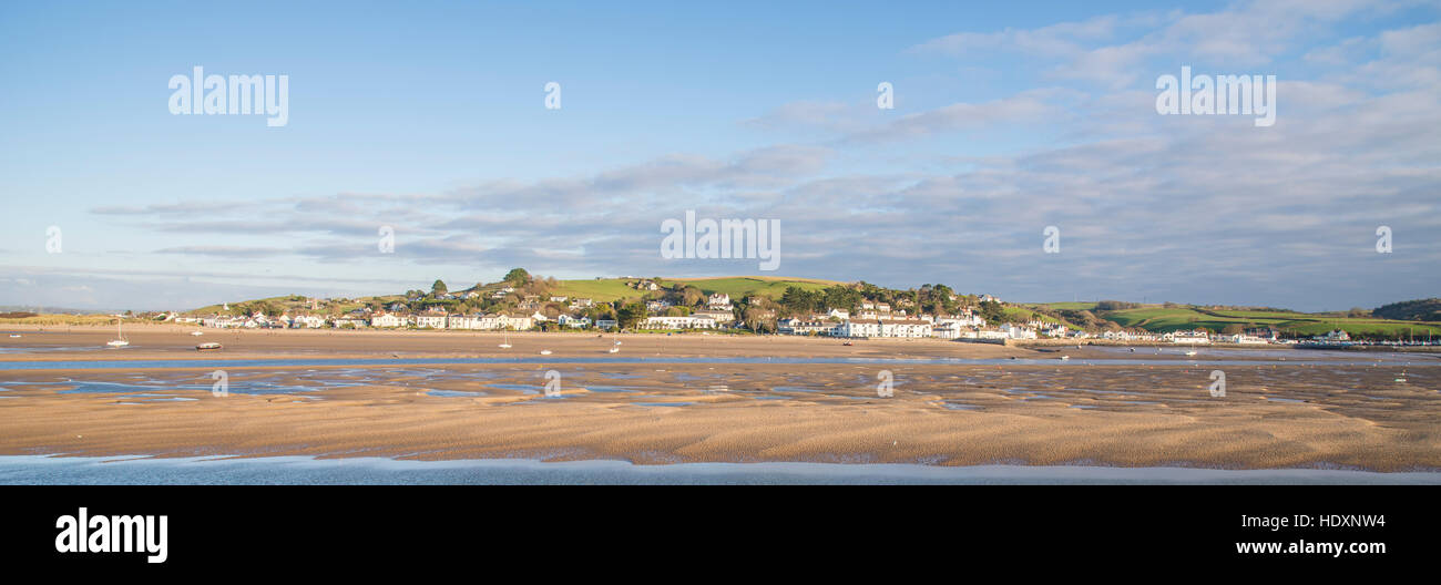 An Panoramic estuary view of Instow from Appledore with the River Torridge at low tide. - Stock Image