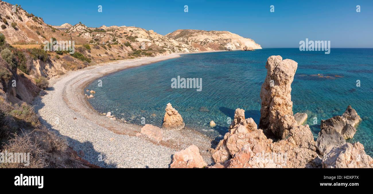 Aphrodite's rock and empty beach, Cyprus Stock Photo