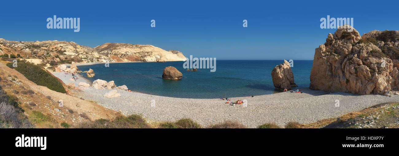 Panorama of Aphrodite's rock and beach in Cyprus - Stock Image
