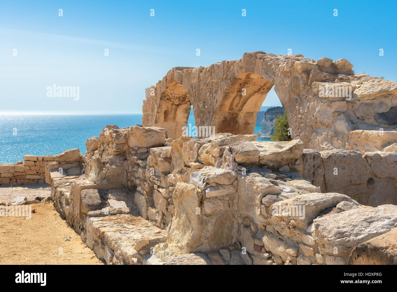 Ancient Greek arches ruin city of Kourion, Limassol, Cyprus - Stock Image