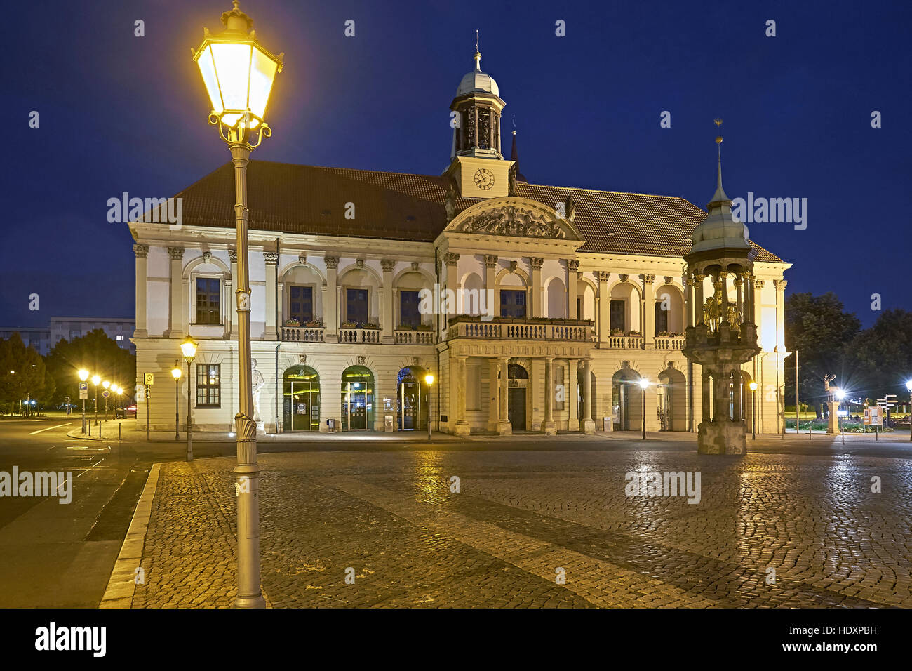 City Hall at the Old Market with Magdeburg Horseman, Magdeburg, Saxony-Anhalt, Germany - Stock Image
