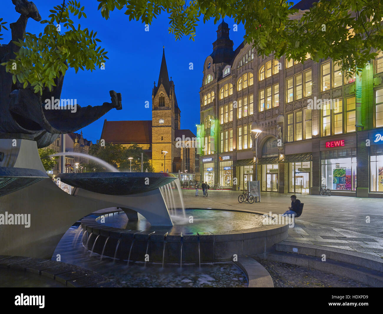 Shopping center Anger 1 and Merchants church in Erfurt, Thuringia, Germany - Stock Image