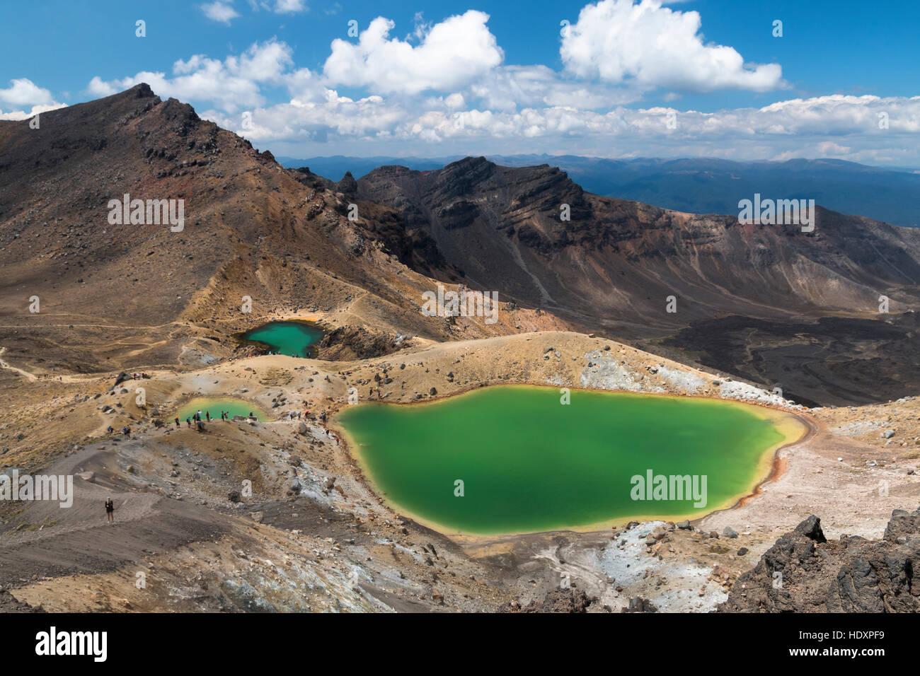 Emerald Lakes, Tongariro National Park, New Zealand - Stock Image