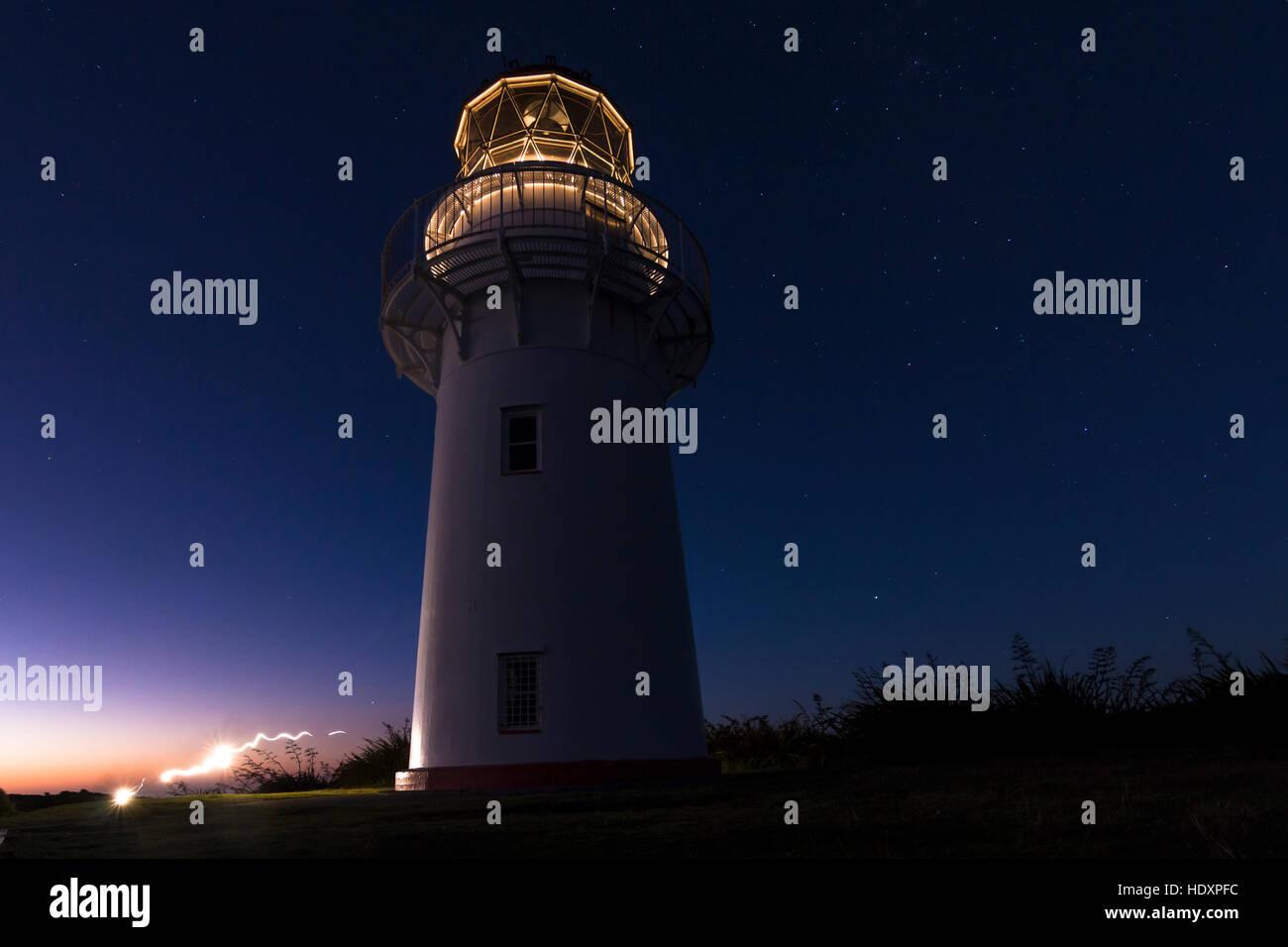 East Cape Lighthouse, North Island, New Zealand - Stock Image