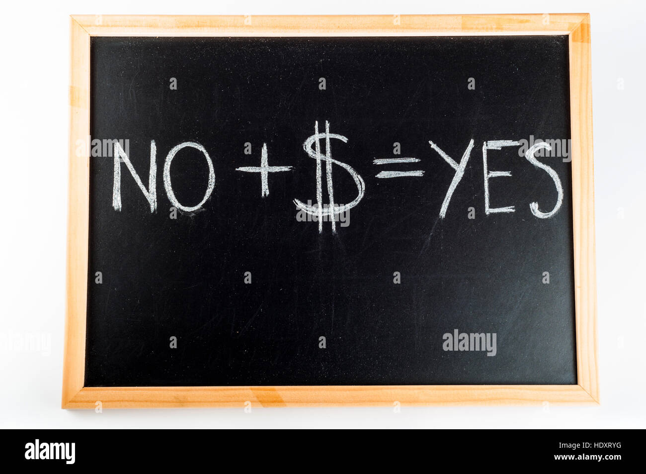 Concept idea of changing people's minds No plus USD equals YES Stock Photo