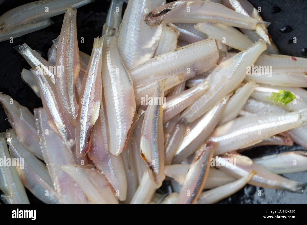 Cleaned anchovies in an earthen pot - Stock Image