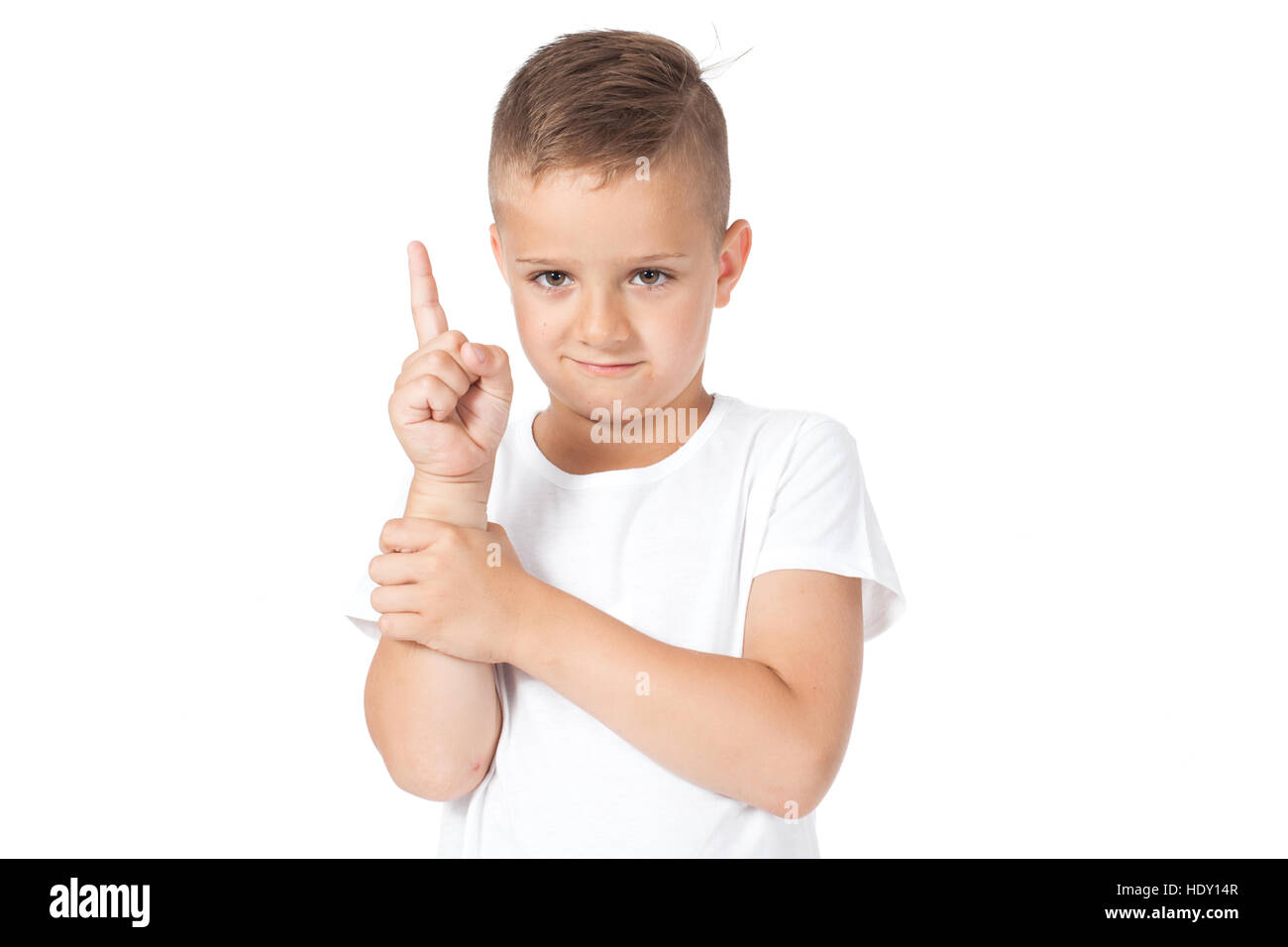 Boy shows something a finger, has an idea - Stock Image