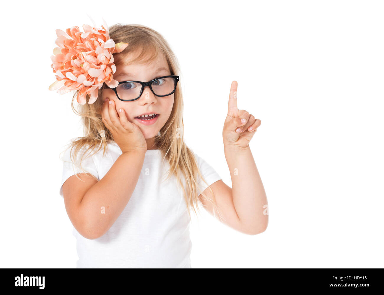 girl shows something a finger, has an idea, he says, whispers, advises - Stock Image
