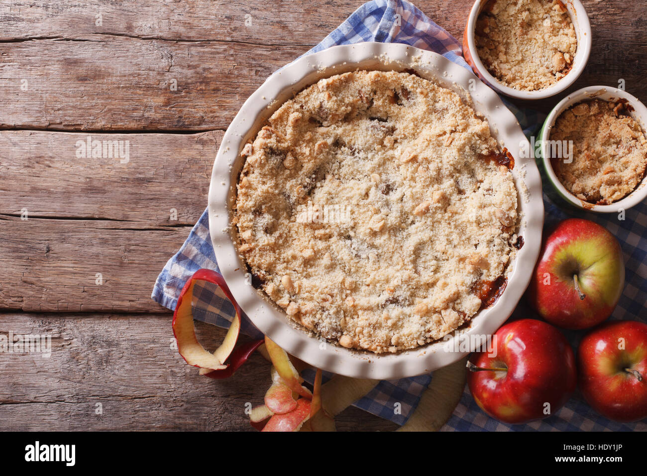Traditional apple crisp close-up in baking dish. view from above horizontal, rustic style Stock Photo