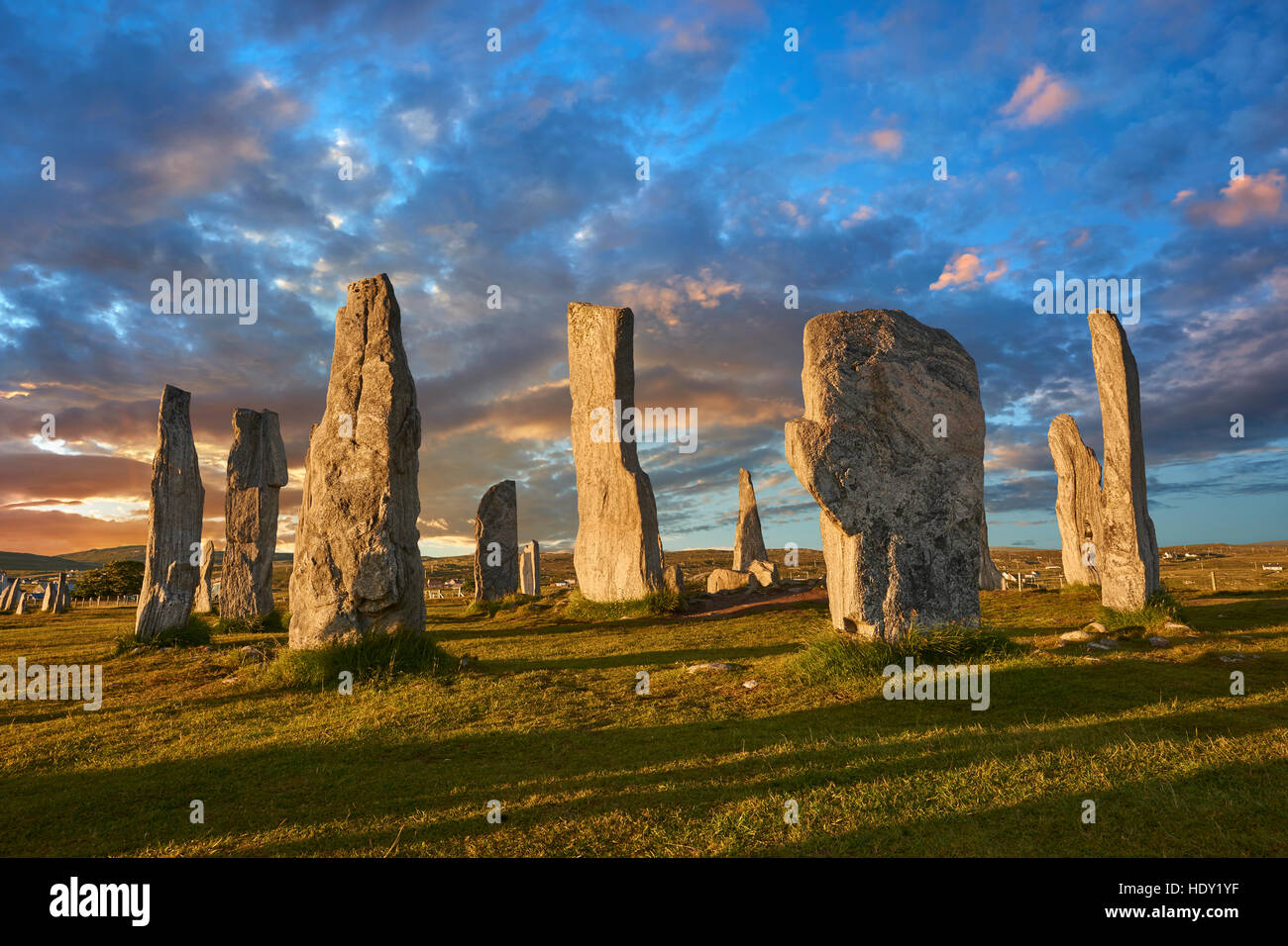 Calanais Standing Stones  central stone circle erected between 2900-2600BC, Isle of Lewis Scotland Stock Photo
