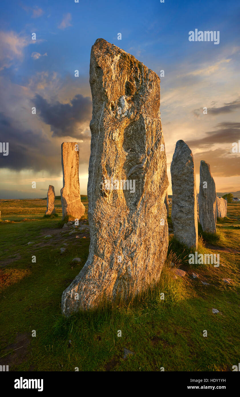 Calanais Standing Stones  central stone circle erected between 2900-2600BC, Isle of Lewis Scotland - Stock Image