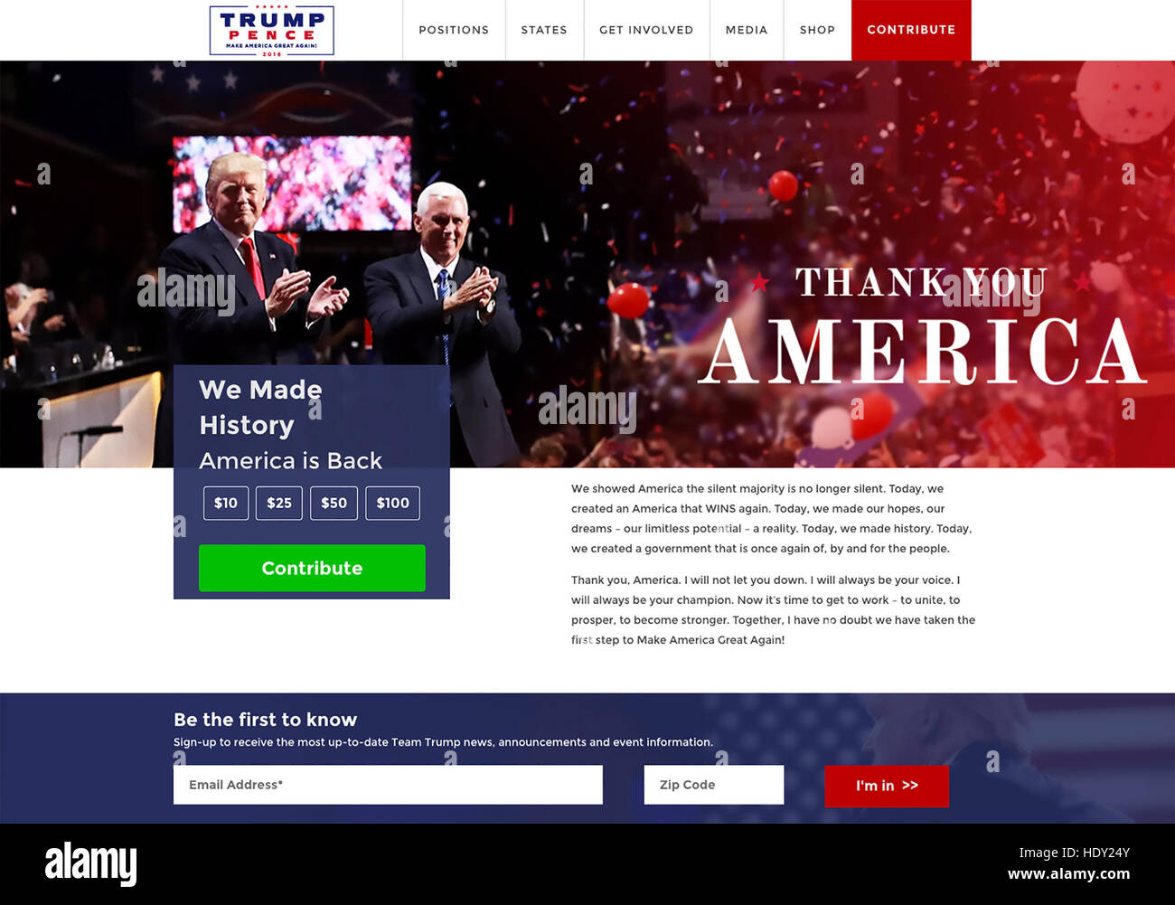 DONALD TRUMP As US President-Elect with Vice President Elect Mike Pence. Web page thanking supporters in December - Stock Image
