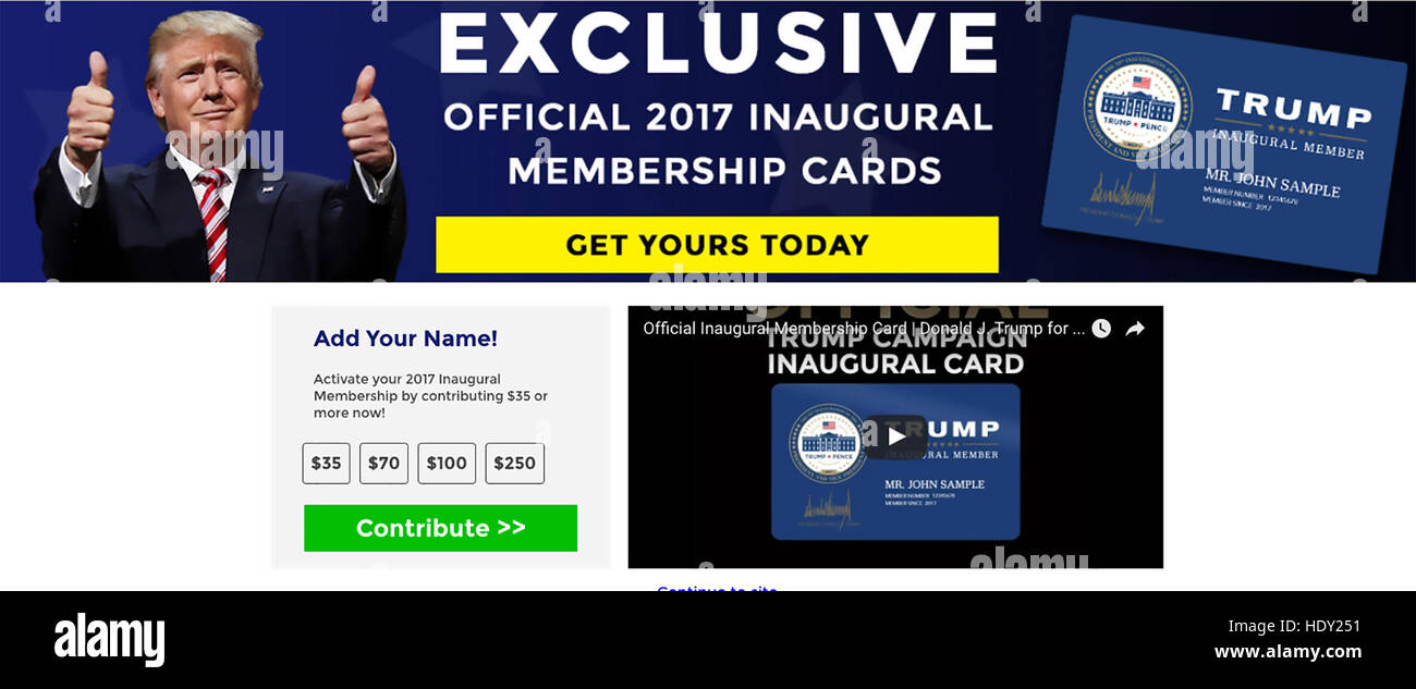 DONALD TRUMP as US President-Elect. Web page in December 2016 offering Inauguration Membership Cards - Stock Image