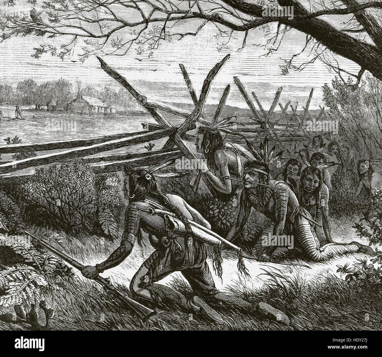 Sioux Indians armed with rifles and arrows, stealthily approaching a farm. Engraving in 'Harper's Weekly', - Stock Image
