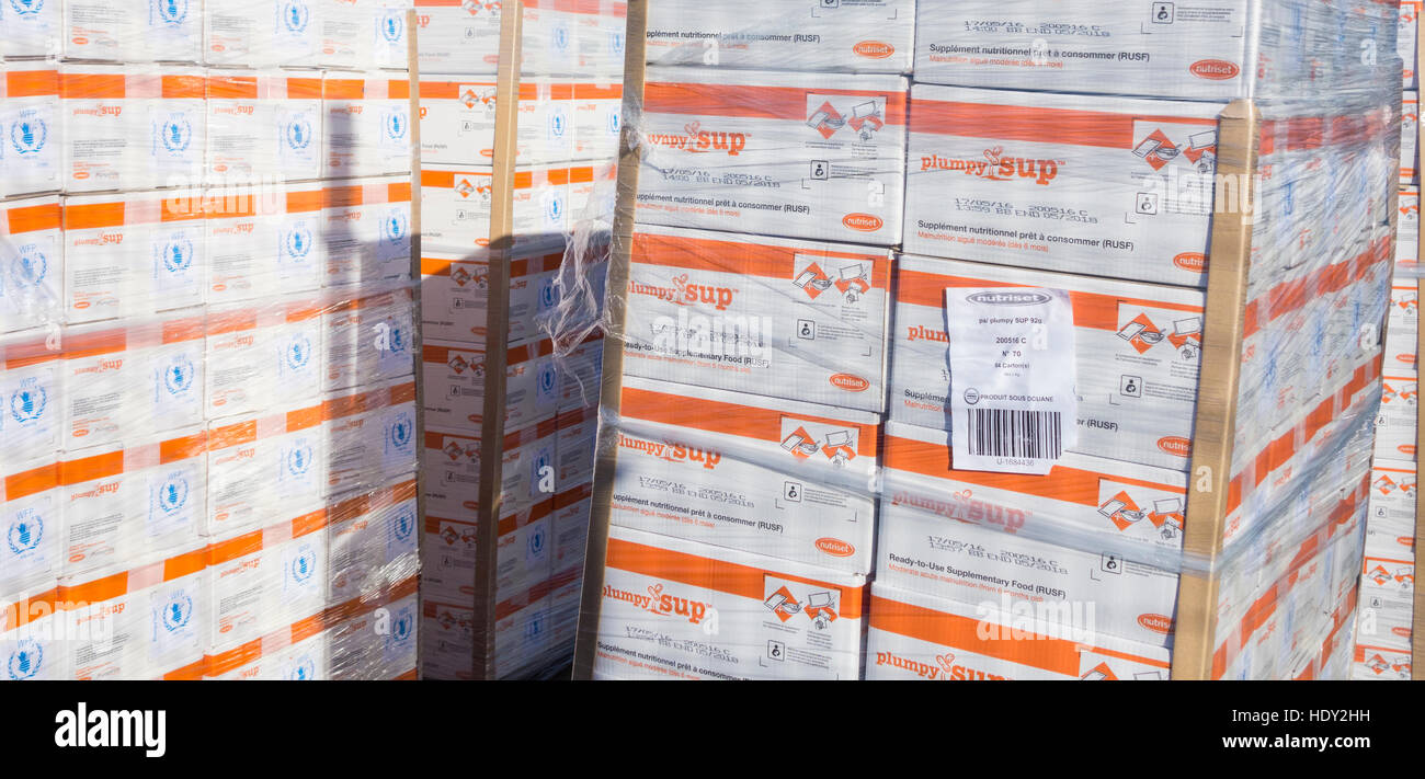 pallets of food supplements outside United Nations Humanitarian Response Depot in Las Palmas port on Gran Canaria, - Stock Image