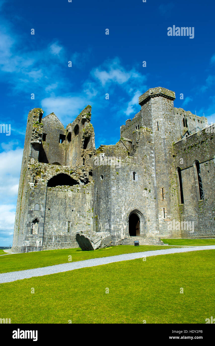 Ruin of Monastery at Rock of Cashel in Ireland - Stock Image