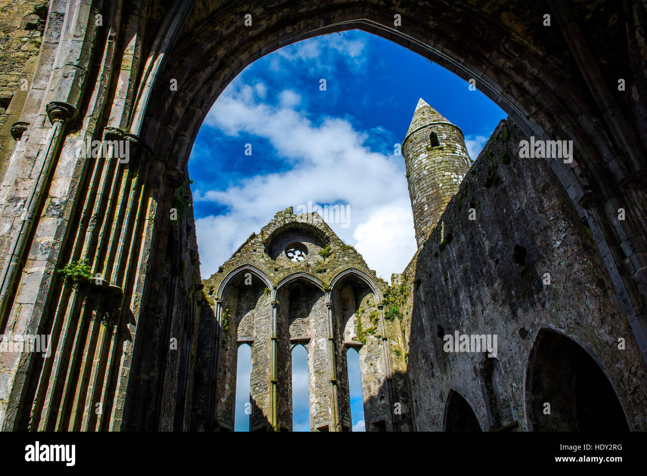 Ruin of Monastery at Rock of Cashel in Ireland - Stock Image