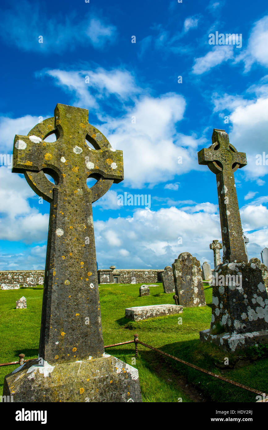 Celtic Crosses on Graveyard at Rock of Cashel in Ireland Stock Photo