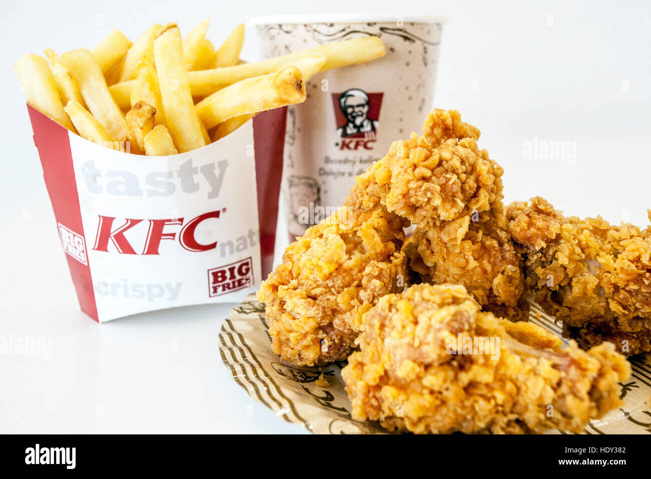 KFC meal, Kentucky Fried Chicken, hot wings menu Stock ... - photo#9